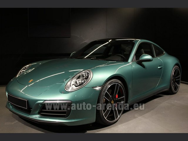 Hire and delivery to Brussels Airport the car Porsche 911 991 4S Racinggreen Individual Sport Chrono