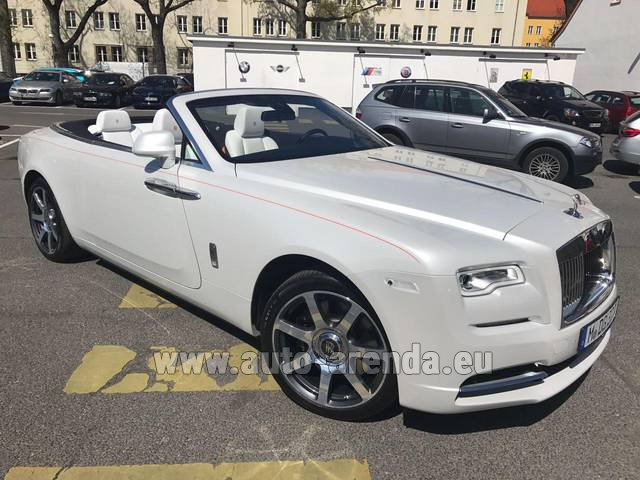 Hire and delivery to Brussels Airport the car Rolls-Royce Dawn (White)