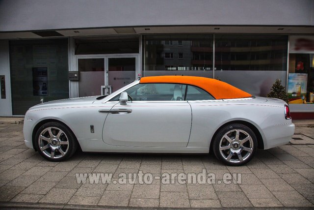 Hire and delivery to Brussels Airport the car Rolls-Royce Dawn White